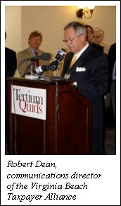 Robert Dean, communications director of the Virginia Beach Taxpayer Alliance